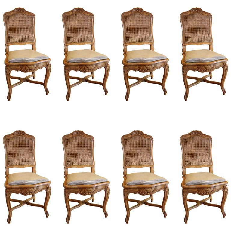 Set of Eight French Louis XV Style Dining Chairs in Walnut, circa 1880