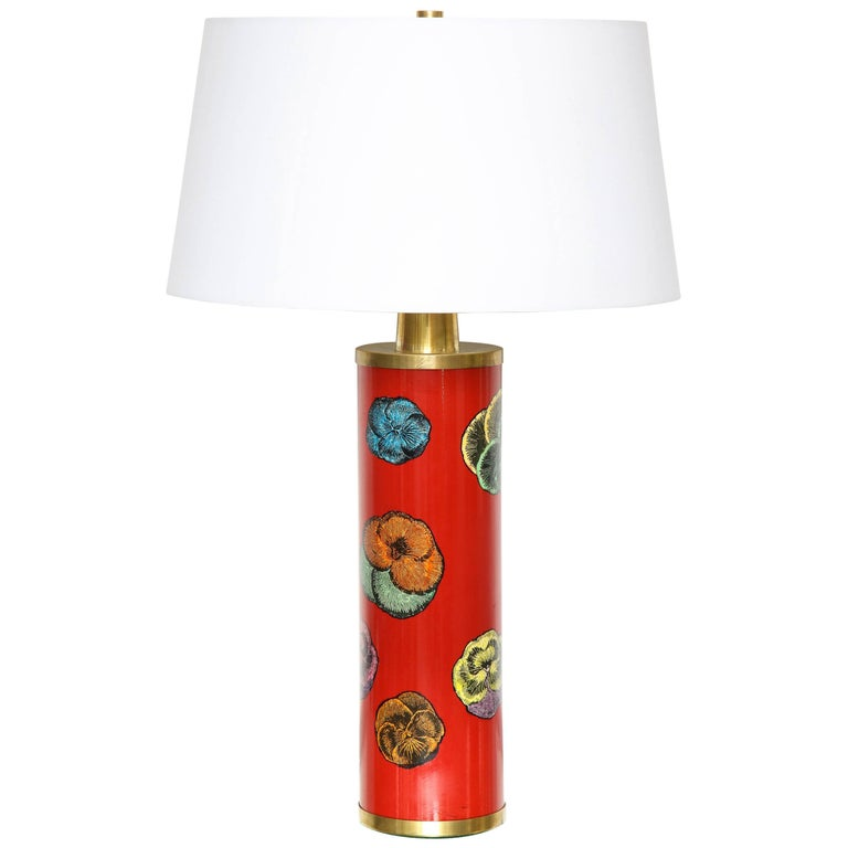 Fornasetti Red Pansy Design Lamp For Sale