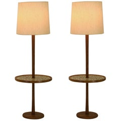 Beautiful Pair of Matched Floor Lamps with Integral Tables by Martz