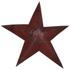 Original Red Painted Tin Barn Star