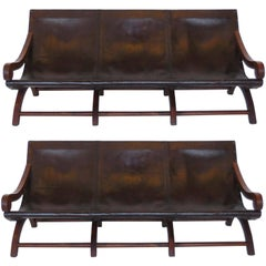 Pair of Leather Butaca Sofas
