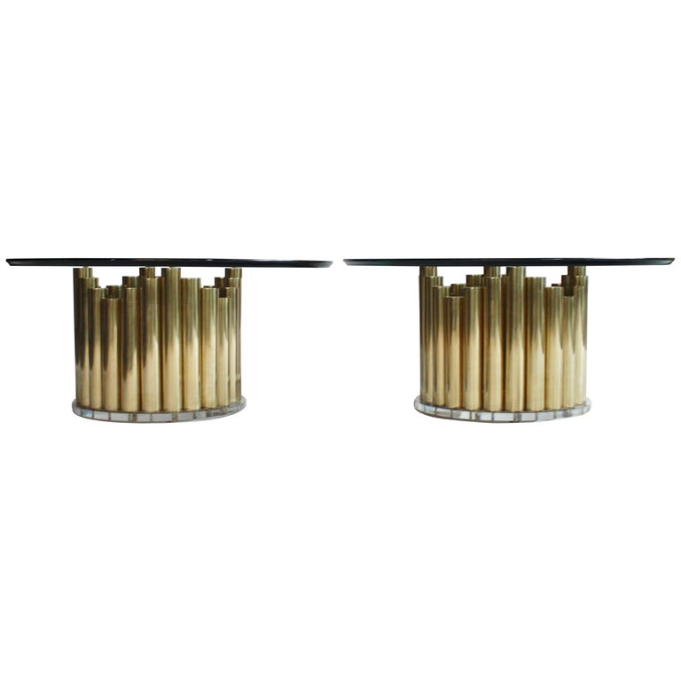 Brass and Lucite Cocktail or End Tables