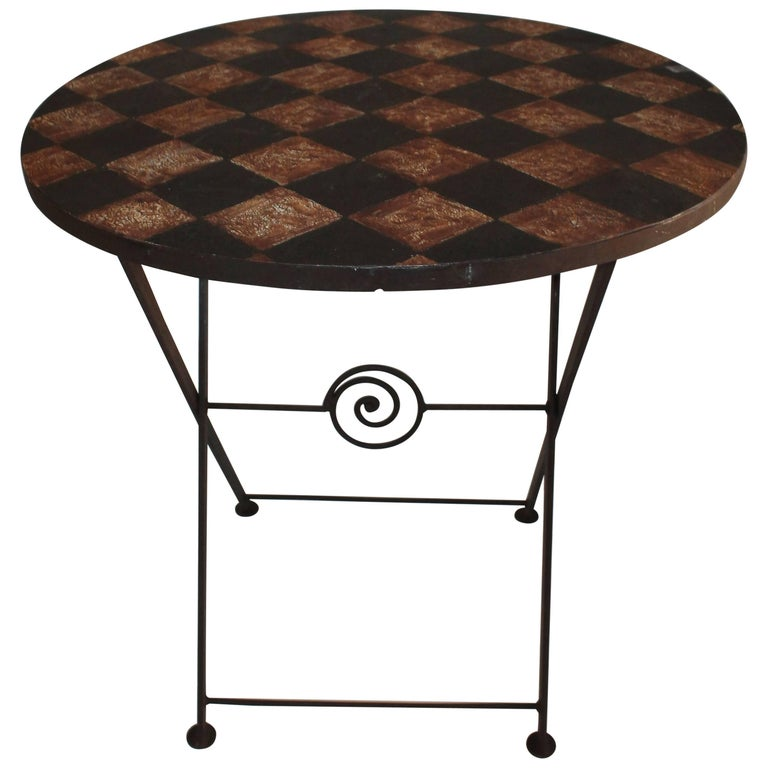 20th Century Painted Metal Patio / Garden Table For Sale