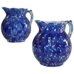 Sponge Ware Pottery Pitchers, 19th Century, Pair