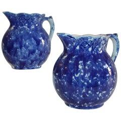 Sponge Ware Pottery Pitchers, 19th Century, Pair