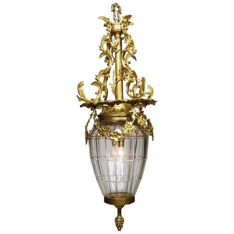"French 19th-20th Century Gilt-Bronze and Molded Glass ""Versailles"" Style Lantern For Sale"
