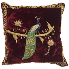 Velvet Burgundy Throw Silk Pillow Embroidered with Gold Peacock