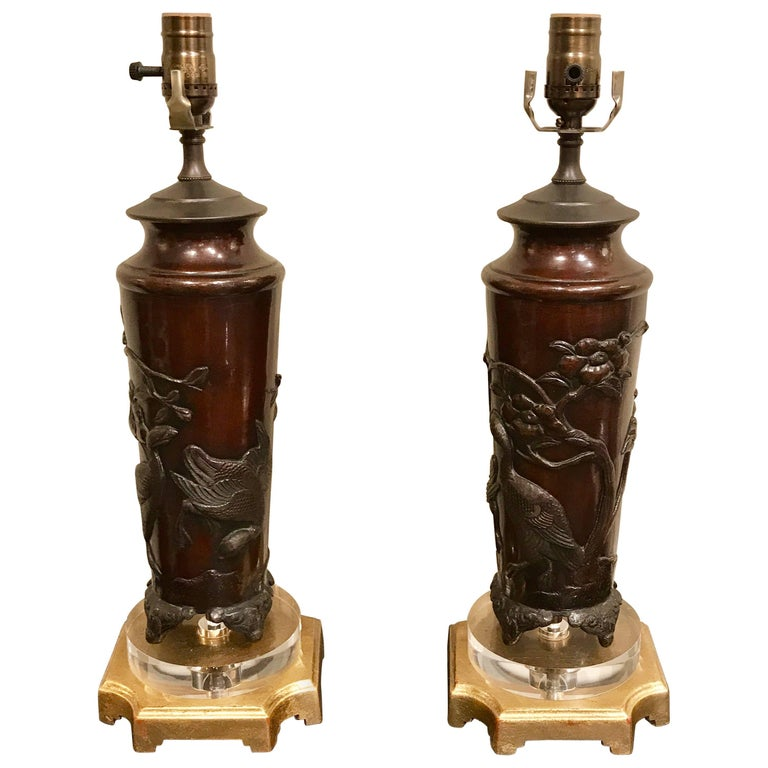 Pair of Chinese Bronze Bird Motif Vases, Now as Lamps