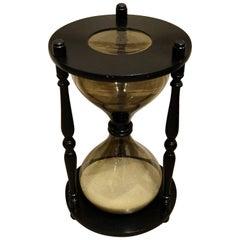 Oversized Ebonized Hourglass Side Table