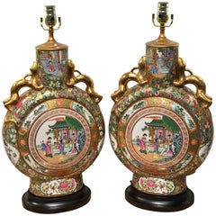 Pair of Rose Medallion Moon Flask Vases, Now as Lamps
