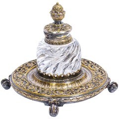 Antique Victorian Ornate Ormolu Ink Well with Acorn Lid, circa 1850