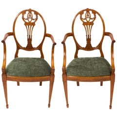 19th Century Pair of Sheraton Revival Satinwood Armchairs
