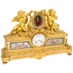 19th Century French Gilt Bronze Bleu Celeste Sevres Porcelain Clock