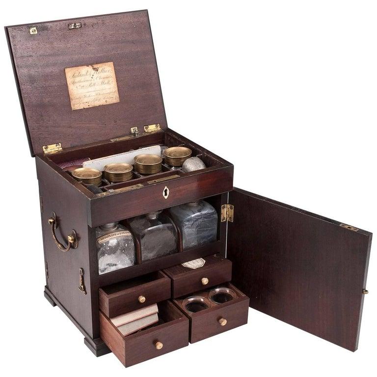 Duke of York Solid Mahogany Medicine Chest Apothecary Cabinet, circa 1800