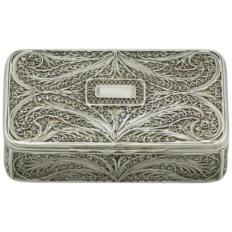 Antique Victorian Sterling Silver Filigree Box For Sale