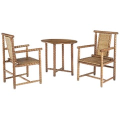 Pair of Armchairs and Oval Occasional Table by Josef Zotti