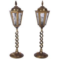 Pair of Brass Tabletop Lanterns