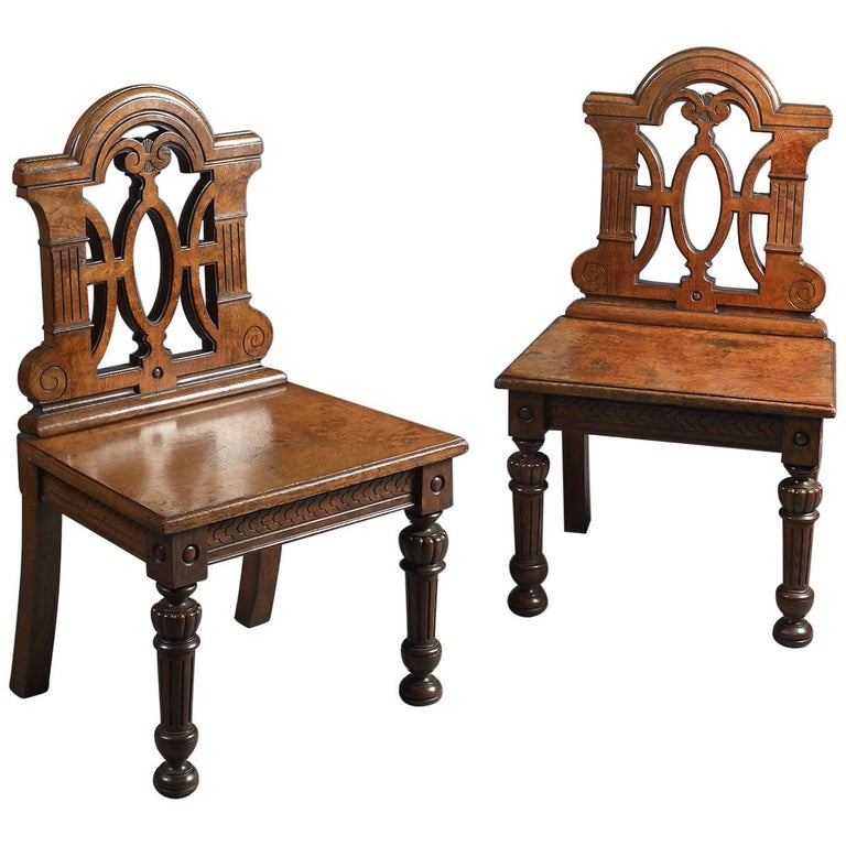 Weird Furniture For Sale: Unusual Pair Of Jacobean Revival Hall Chairs For Sale At