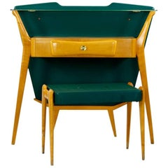 Italian Wooden and Green Console with Fitting Stool, in the Manner of Ico Parisi