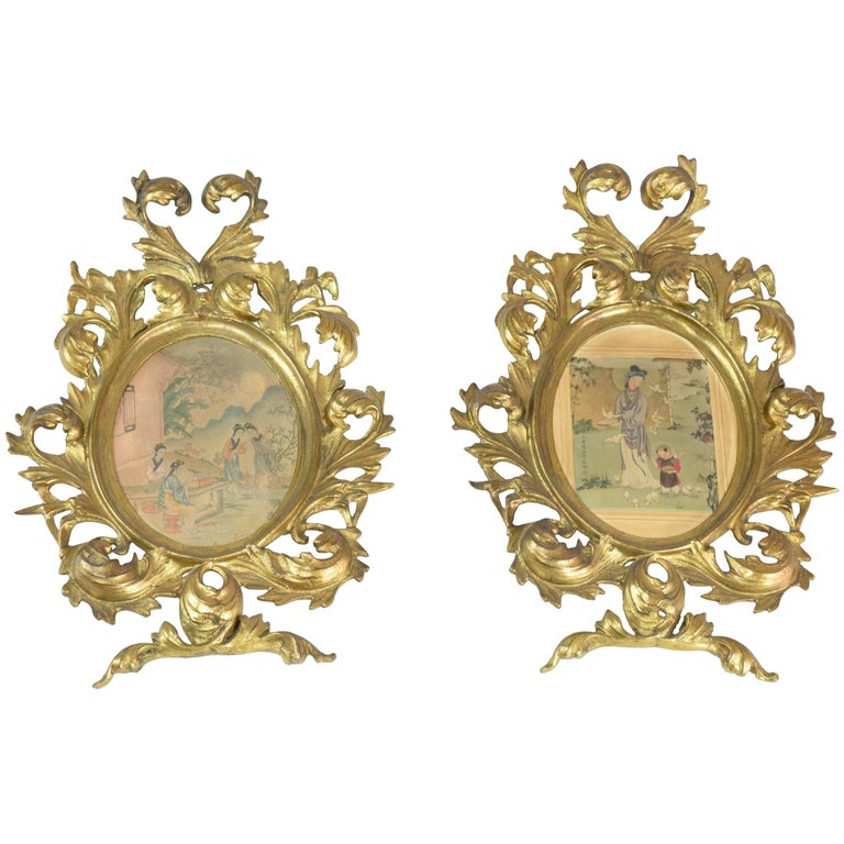 Antique Japanese Watercolours In Italian Giltwood Frames For Sale At