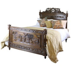 Oak Breton Bedstead with Carved Panels, WK81