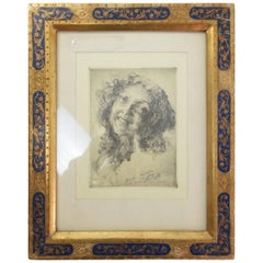 Italian Etching Portrait and Sgraffito Gold Frame, 1900-1930