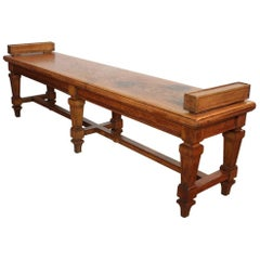 Early 20th Century French Oak Hall Bench