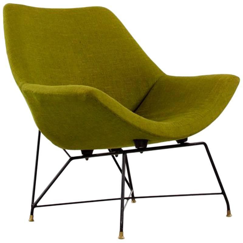 """Italian Green """"Kosmos Chair"""", Augusto Bozzi for Saporiti, 1950s"""