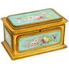 19th Century Porcelain and Ormolu Jewel Casket Box by Tahan