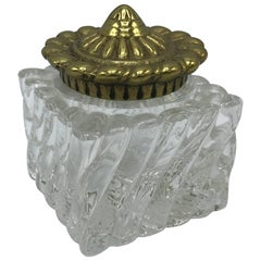 Virginia Metal Crafters Brass and Crystal Inkwell