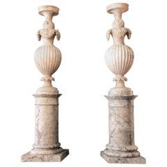 "Pair of Alabaster ""Pot à Feu"" or Fire Pot, Italien Artwork, 19th Century"