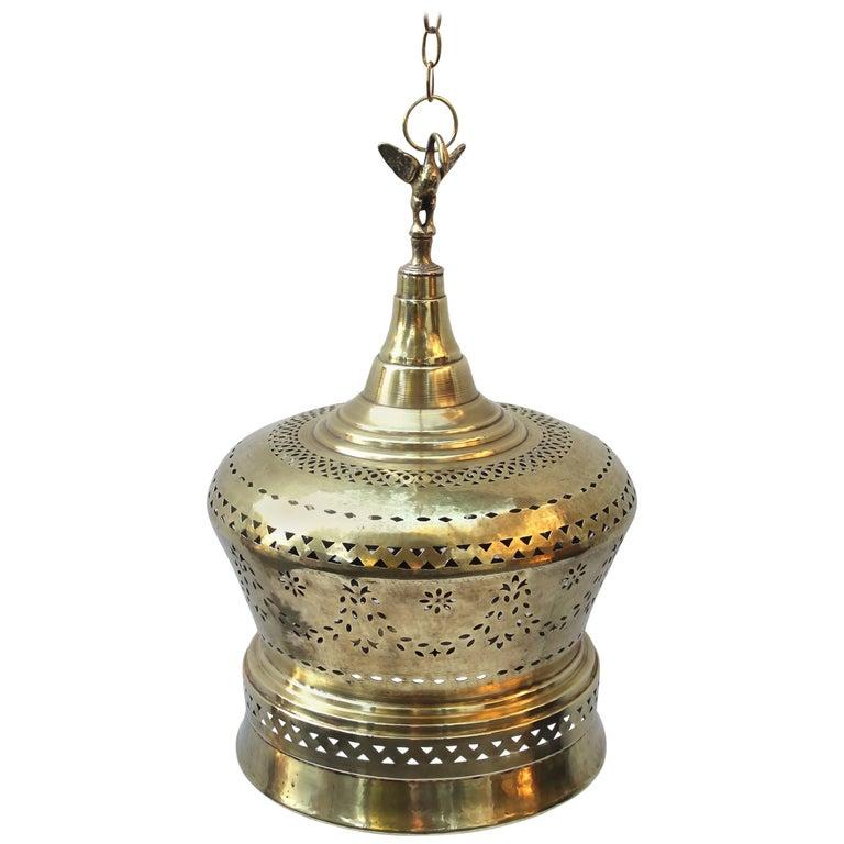Moroccan Brass Light Pendant For Sale