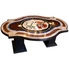 Coffee Table in Pietre Dure Marquetery, Italian Artwork, 20th Century