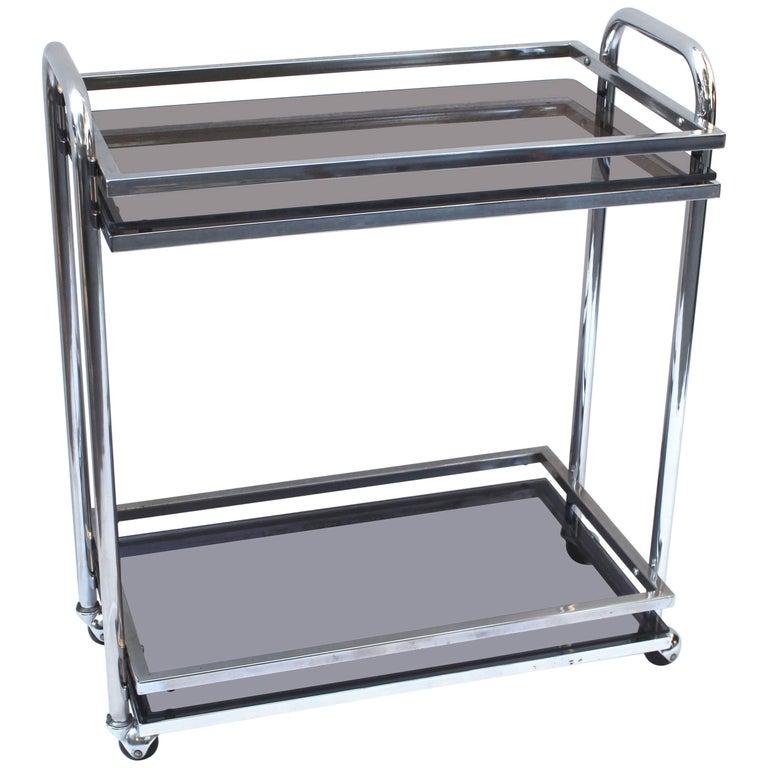 Modern Steel and Glass Bar Cart