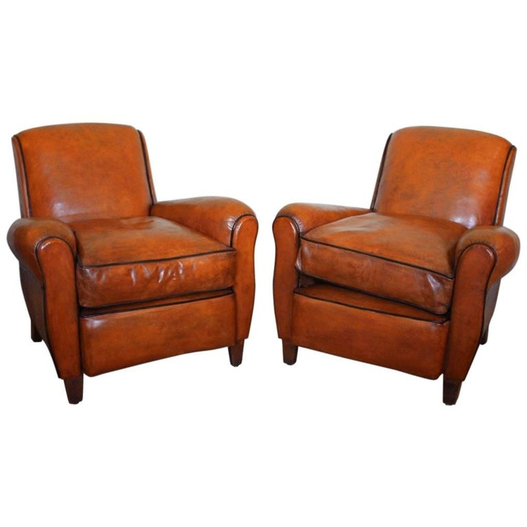 Classic Pair of 1940s French Club Chairs