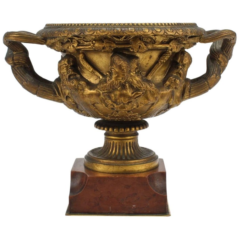 Antique 19th Century Grand Tour Cabinet Size Gilt Bronze Warwick Vase or Urn For Sale