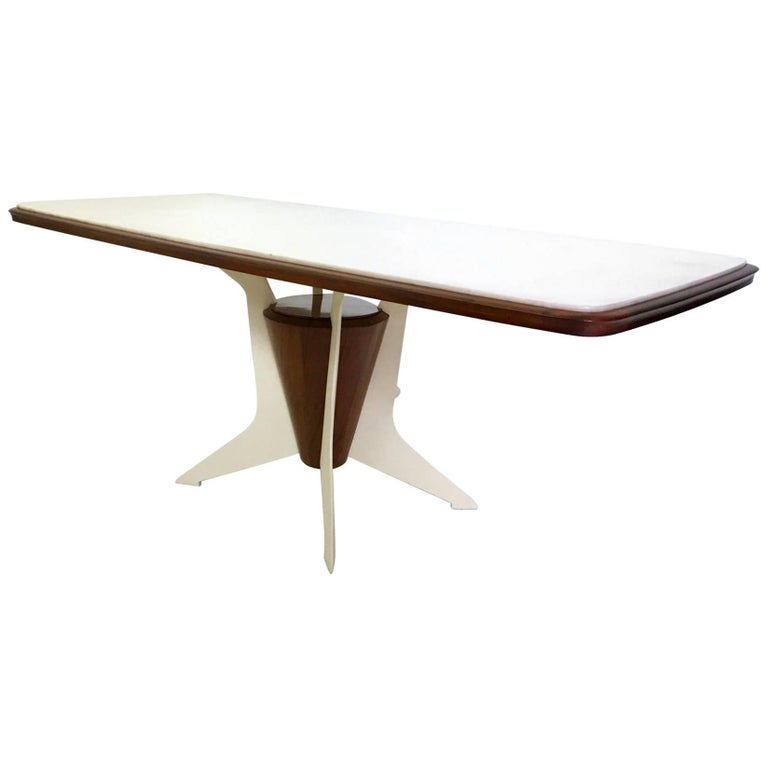 Wood Dining Table with a Carrara Marble Top, Italy, 1950s