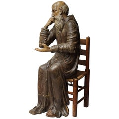 17th Century Wood Carved Polychromed Lifesize Sitting Franciscan Friar