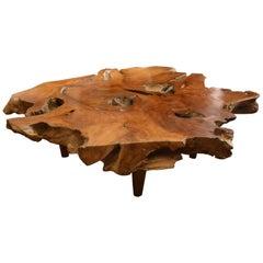 Andrianna Shamaris Single Slab Organic Teak Wood Coffee Table