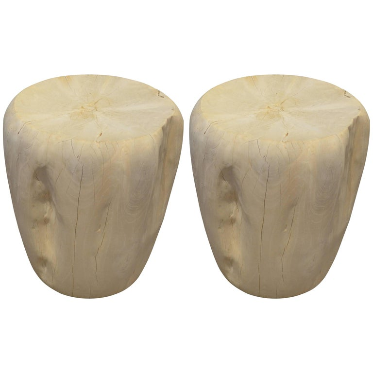 Andrianna Shamaris Hand-Carved Bleached Teak Wood Side Tables