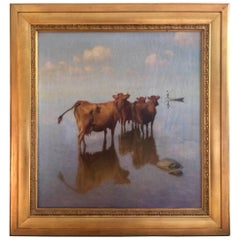 Cows and Fisherman Painting by Hans Brasen