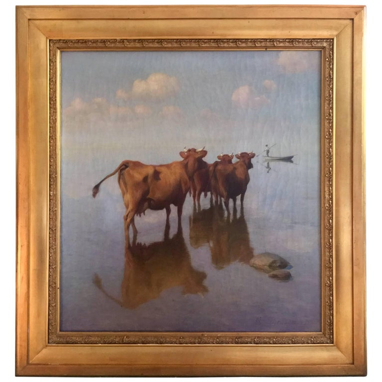 Cows and Fisherman Painting by Hans Brasen For Sale