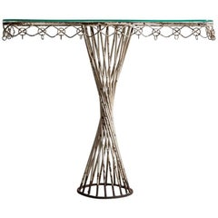 White Painted Metal Console with a Twisted Cylindrical Base and Glass Top