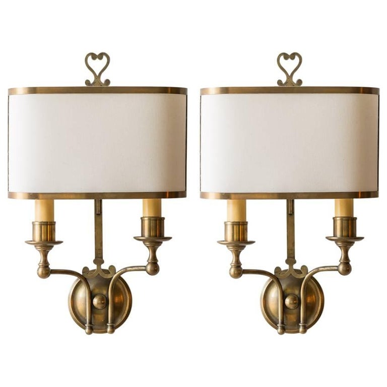 Pair of French Brass Sconces with Double Socket and Curved Cloth Shade 1