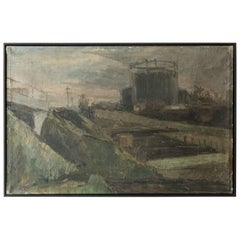 "Black Framed ""Gaswork"" Vintage Industrial Landscape Painting Signed Flemming"