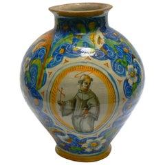 Ovoid Vase in Majolica, circa 1560, Venice, Italy