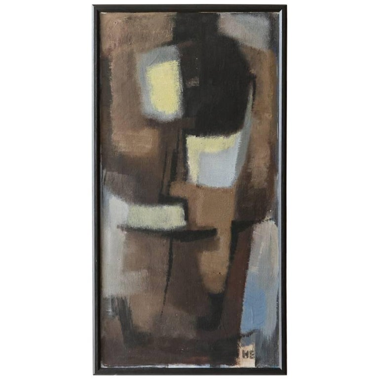 Black Framed Cubist Muted Abstract, Signed H. Ernst, circa 1958 For Sale