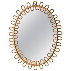 Curled Oval Wicker Mirror from France