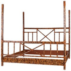 British Colonial Four-Poster King-Size Bed in Faux Bamboo