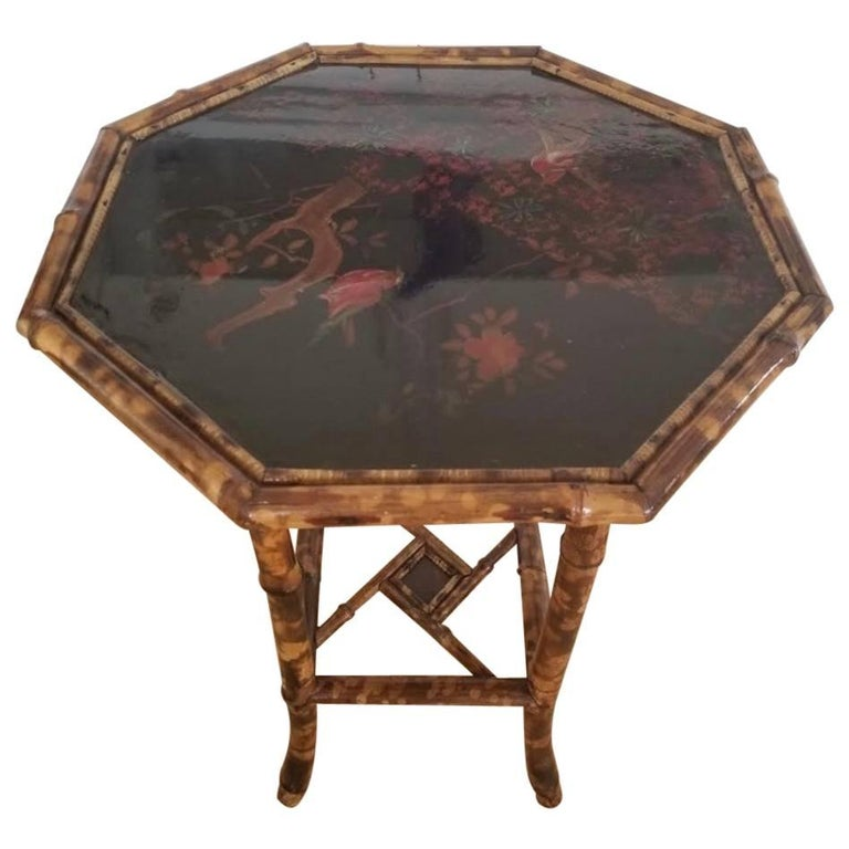 Antique Chinoiserie Scorched Bamboo Side Table For Sale